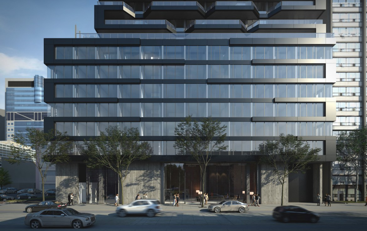 Exterior rendering of The Bread Company Condos building base with entrance to lobby.