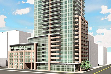 Partial exterior rendering of 99 Blue Jays Way Condos