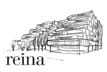 Sketch of Reina Condos with logo overlay.