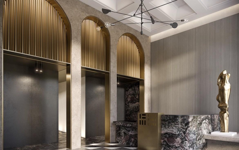 Interior rendering of 123 Portland condos building lobby.