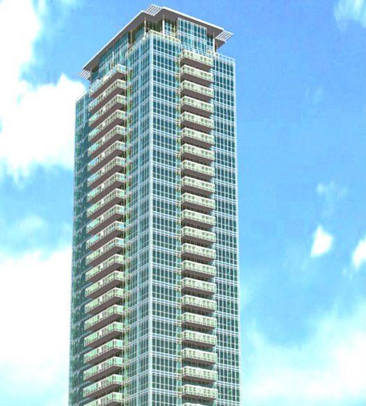 Top-half exterior rendering of 99 Blue Jays Way Condos