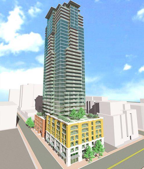 Full exterior rendering of 99 Blue Jays Way Condos