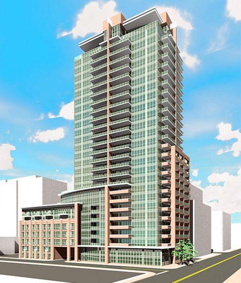Full exterior rendering of 99 Blue Jays Way Condos Facing left