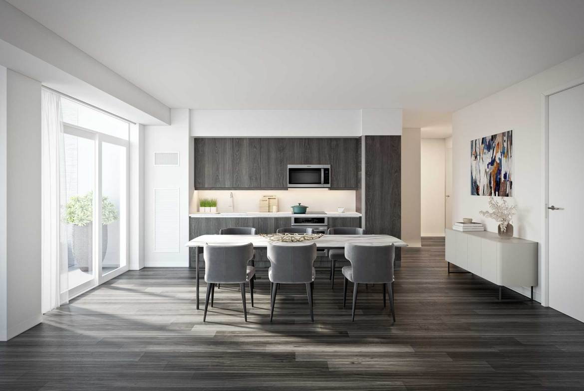 Rendering of Empire Quay House Condos suite kitchen.