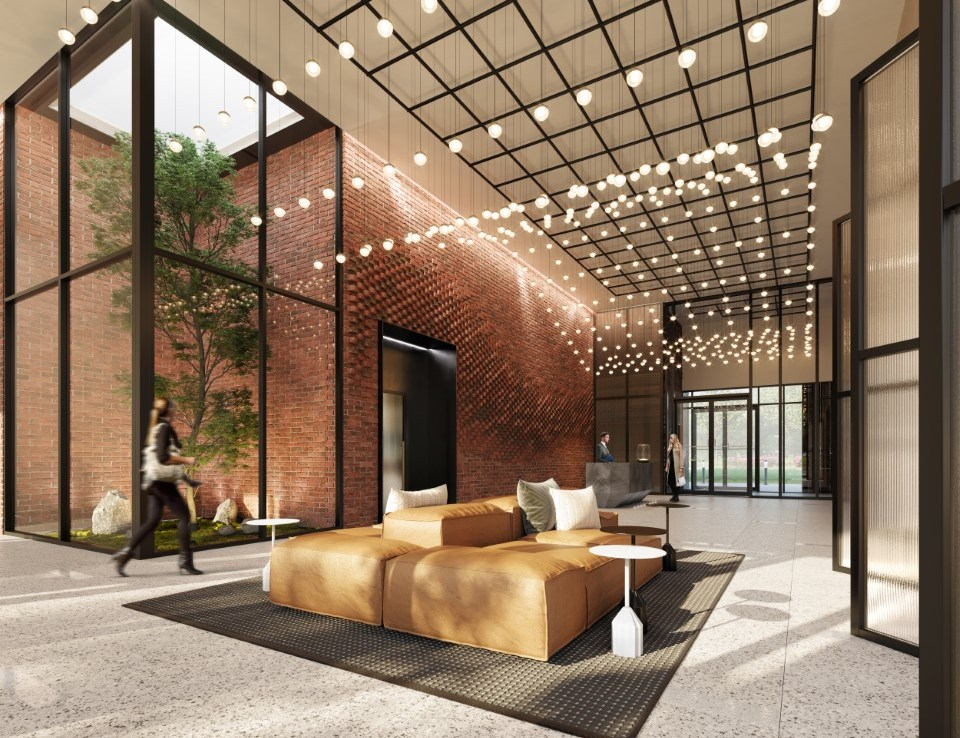 Rendering of Upper West Side Condos lobby with seating.