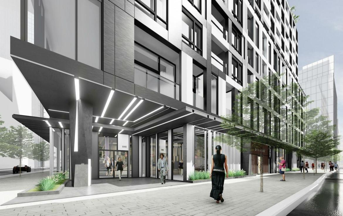 Street-view rendering of Empire Quay House Condos in Toronto