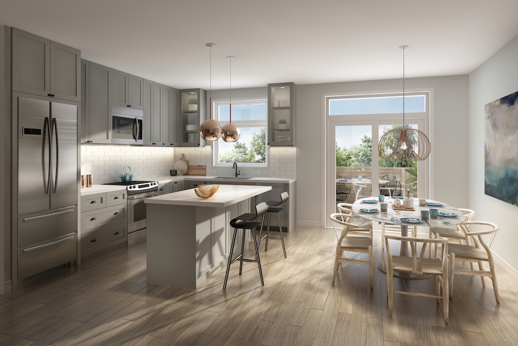 Interior rendering of Frenchman's Bay unit open-concept kitchen.