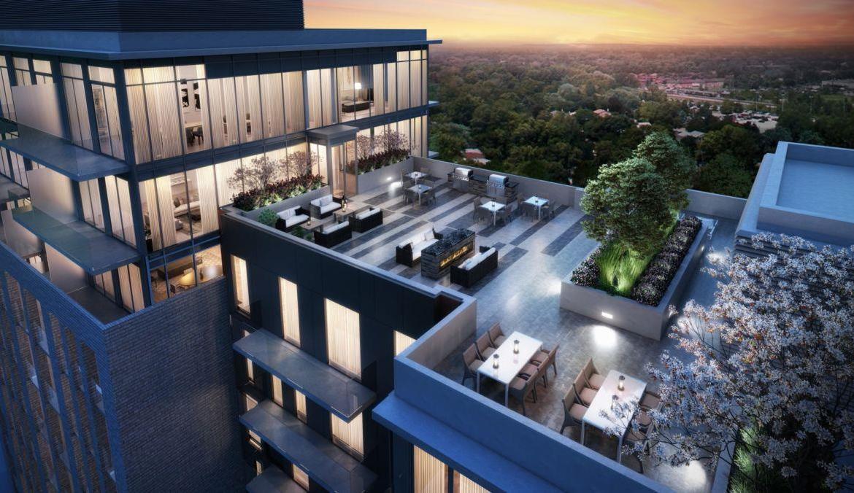 Rooftop terrace rendering of GO.2 Condos.