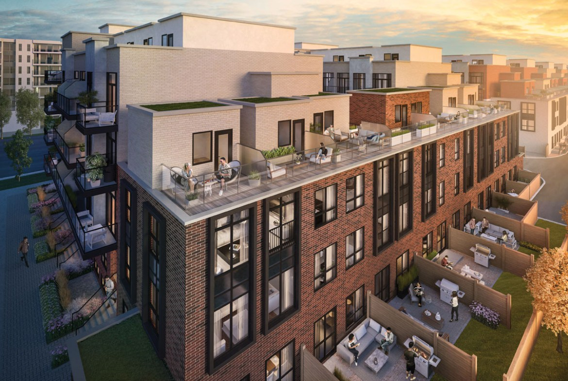 Rendering of Greenwich Village Towns rooftop terraces.