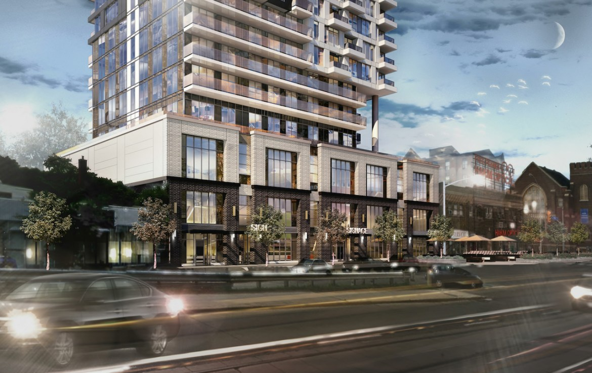 Rendering of Linx Condos exterior view in the evening.