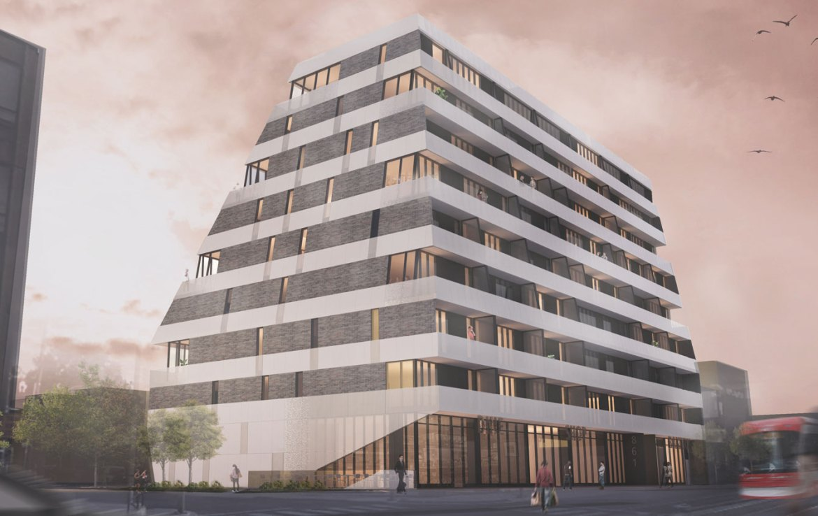 Rendering of Monza Condos full building exterior.
