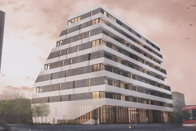 Rendering of Monza Condos full building exterior.
