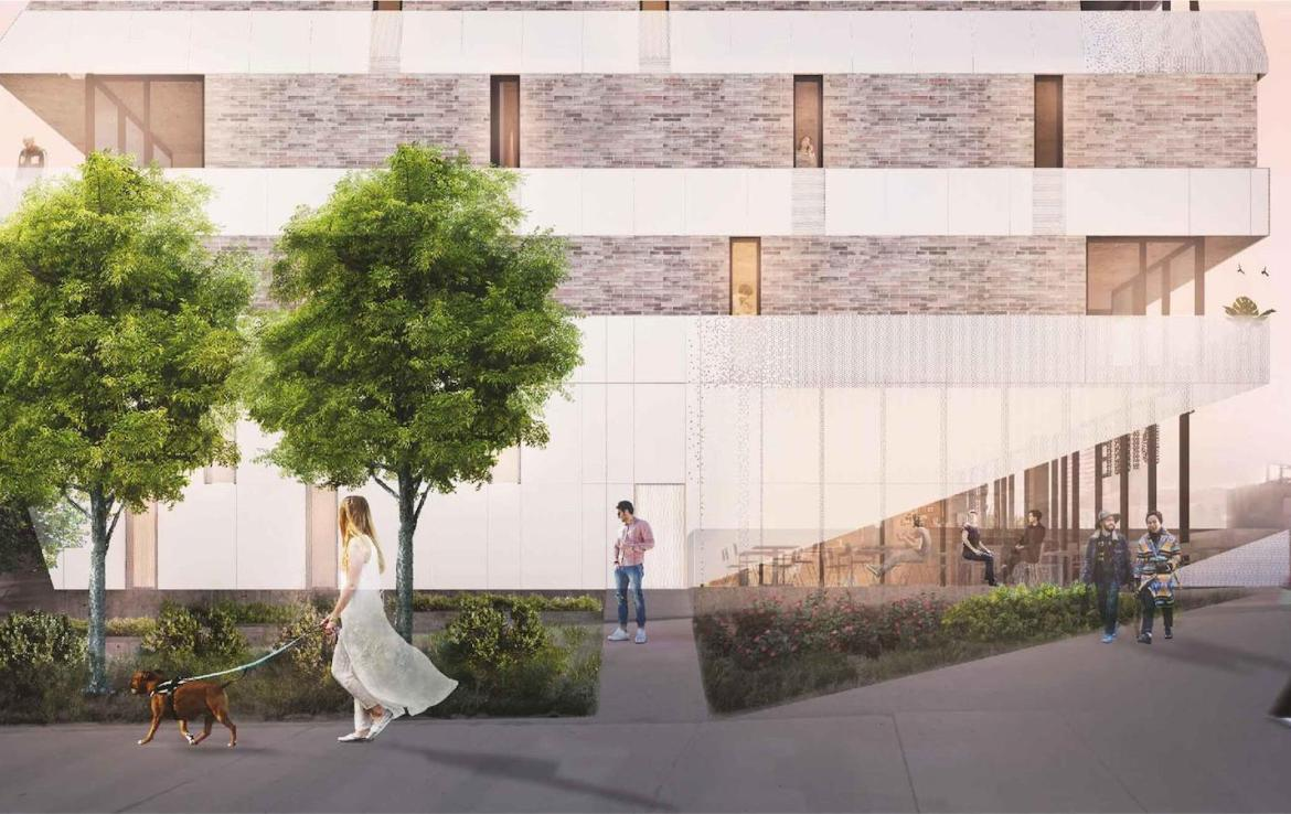 Rendering of Monza Condos building exterior and sidewalks.