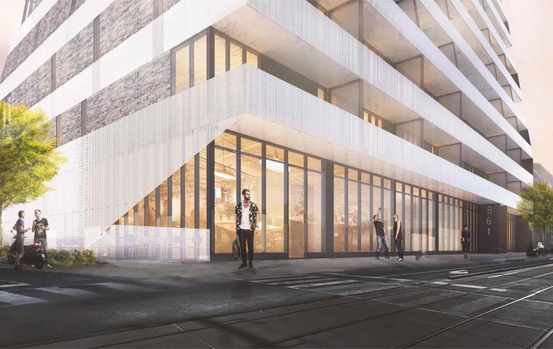 Rendering of Monza Condos building exterior.