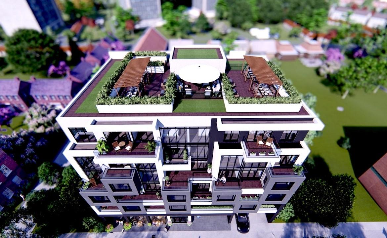 Top-down exterior rendering of Nahid on Broadview