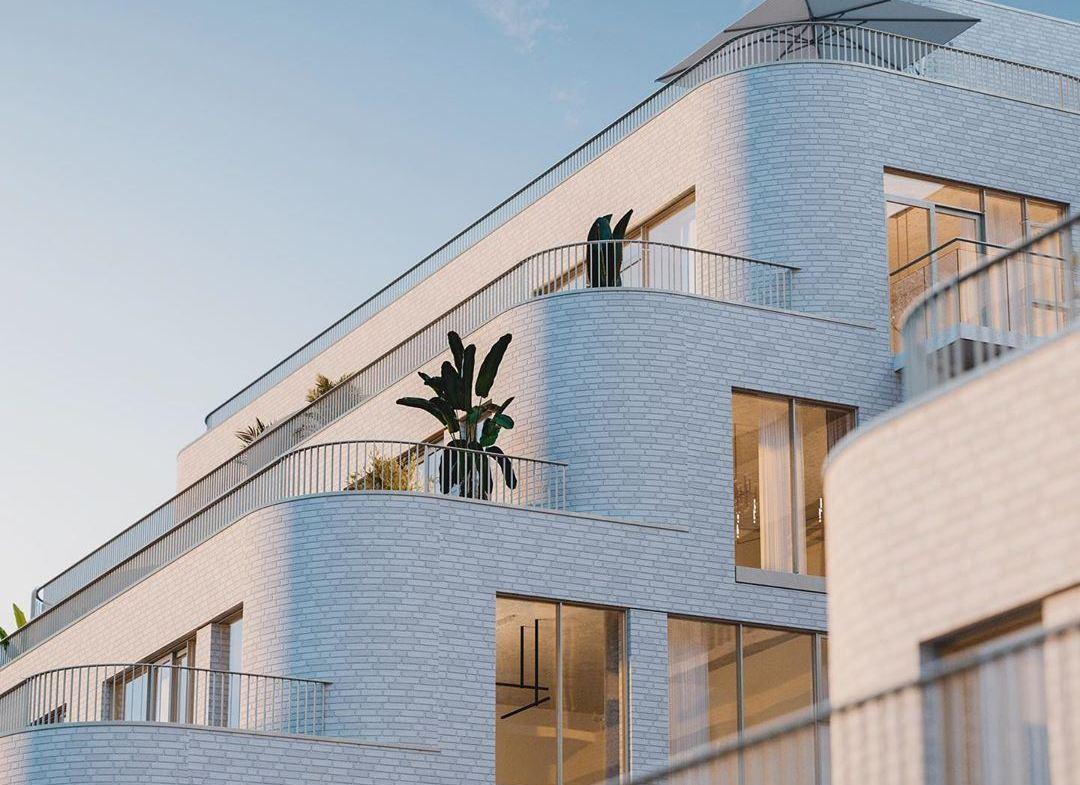 Rendering of Reina Condos exterior balcony