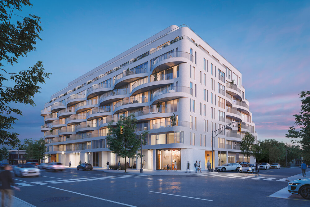 Rendering of Reina Condos exterior front and side view in the evening.
