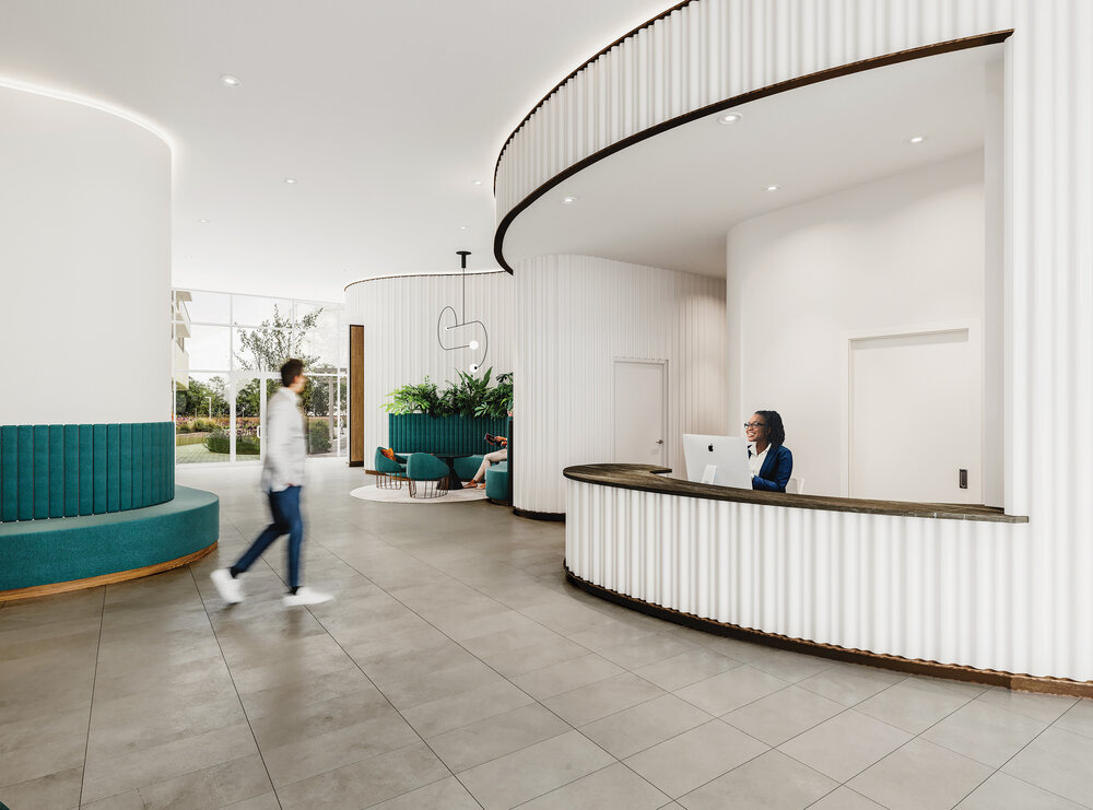 Rendering of Reina Condos lobby with concierge.