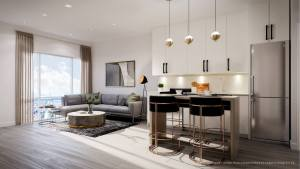 Rendering of Connectt Condos suite living room.