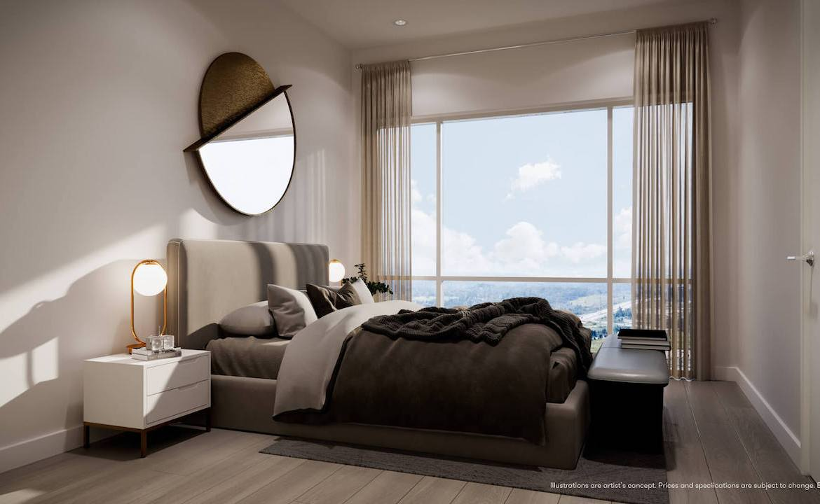 Rendering of Connectt Condos suite master bedroom.