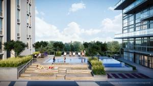 Rendering of Connectt Condos outdoor swimming pool.