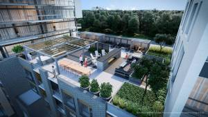 Rendering of Connectt Condos rooftop terrace with al-fresco dining.