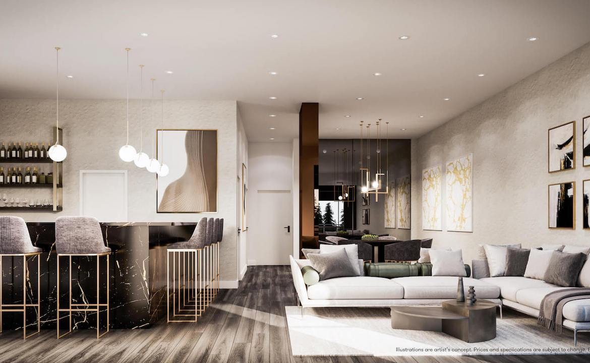 Rendering of Connectt Condos party room.