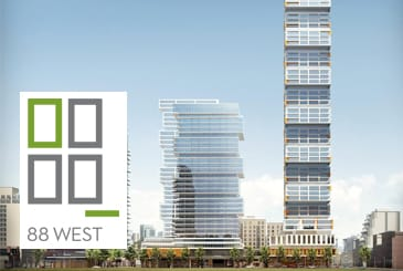 Rendering of 88 West Condos multi-tower community with logo overlay.
