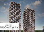Exterior rendering of Sixty-Five Broadway Condos with logo overlay.