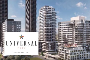 Rendering of master-planned community Universal City Condos in Pickering.