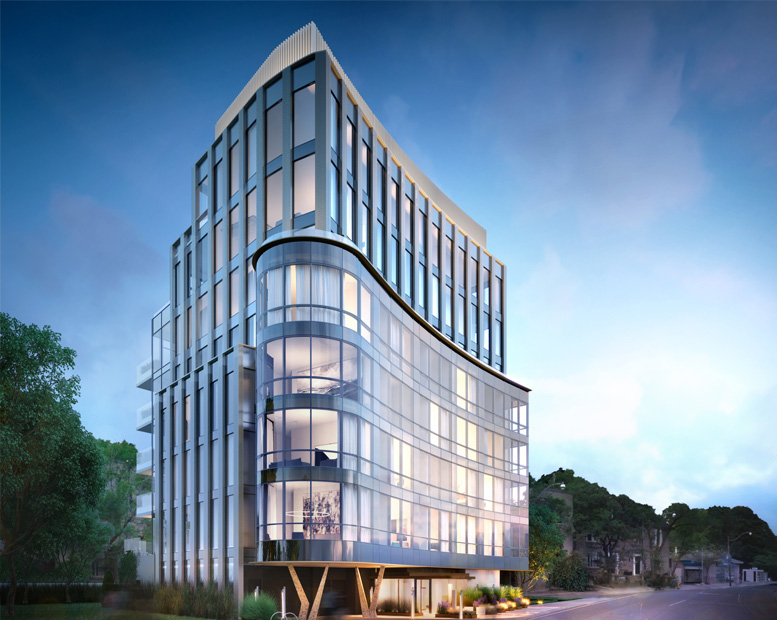 Exterior rendering of 321 Davenport Condos in the evening.