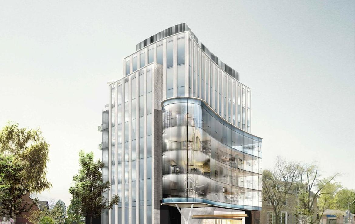Exterior rendering of 321 Davenport Condos during the day.