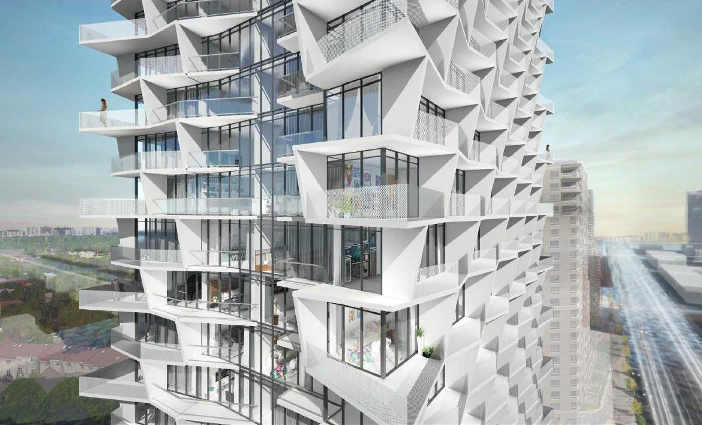 Exterior unit view rendering of 5400 Yonge Street Condos.