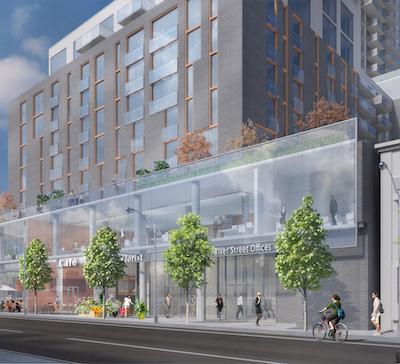 Street level exterior rendering of 7 Labatt Ave Condos.