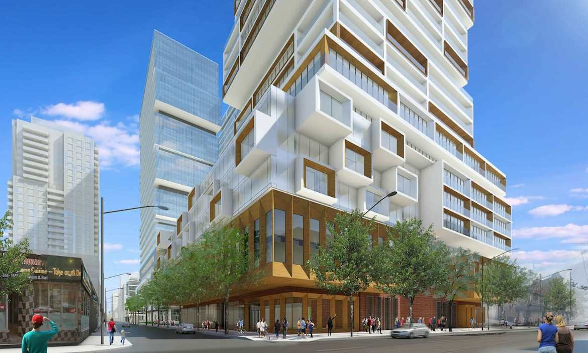 Partial exterior rendering of 88 East Condos.