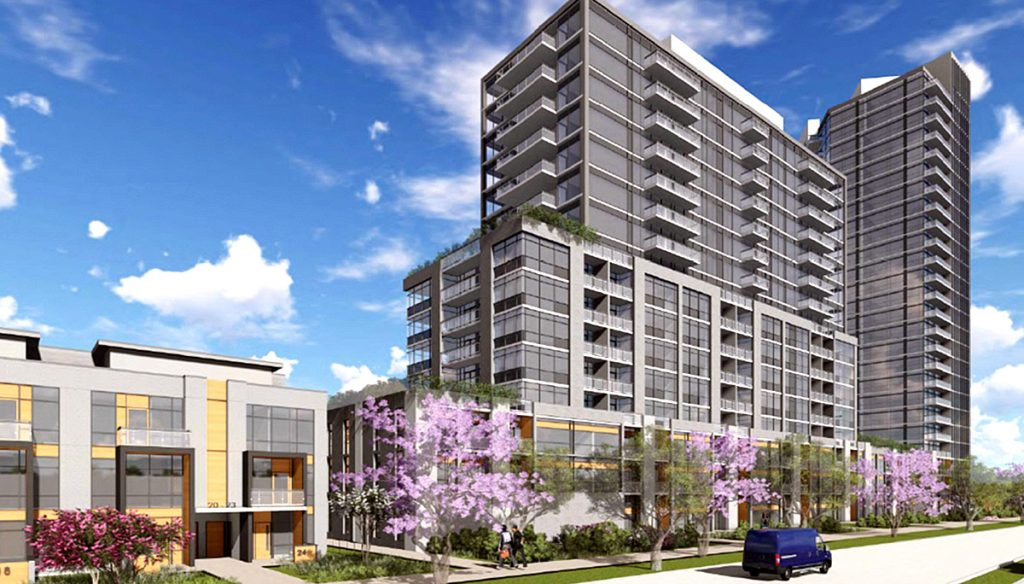 Exterior rendering of Connectt Milton Condos and Townhouse single tower with street foliage.