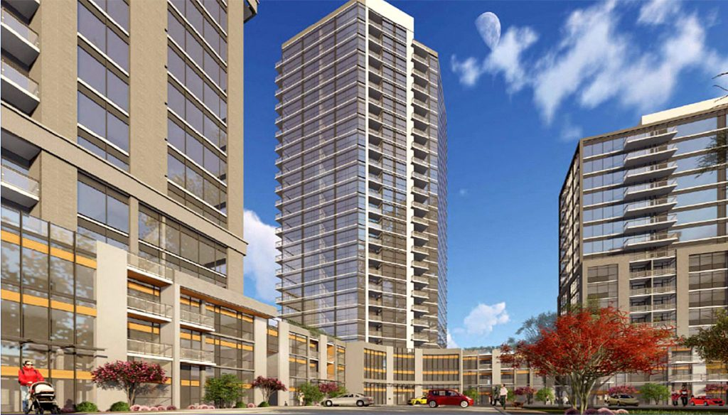 Exterior rendering of Connectt Milton Condos tower view and townhomes.
