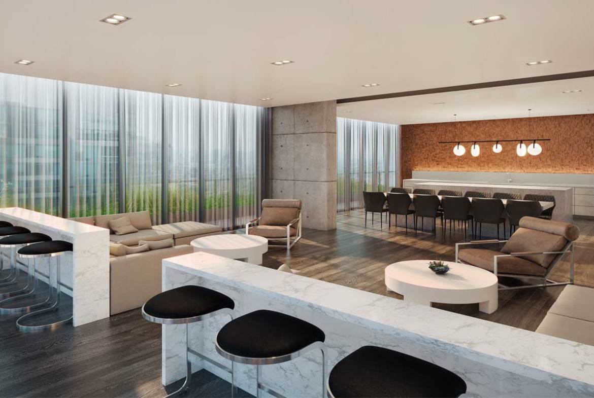 Lounge rendering of Sixty-Five Broadway Condos.