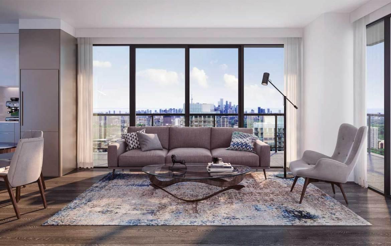 Suite living room rendering of Sixty-Five Broadway Condos.