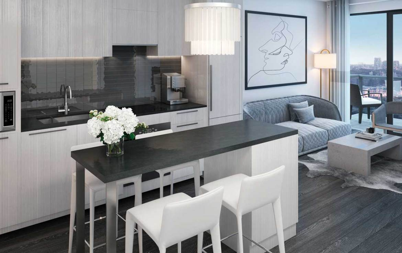 Suite kitchen rendering of Sixty-Five Broadway Condos.