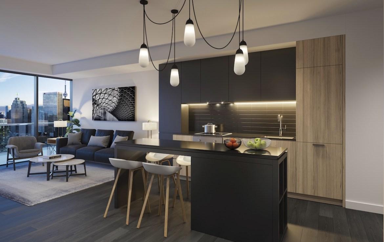 Interior rendering of The Saint Condos suite kitchen.