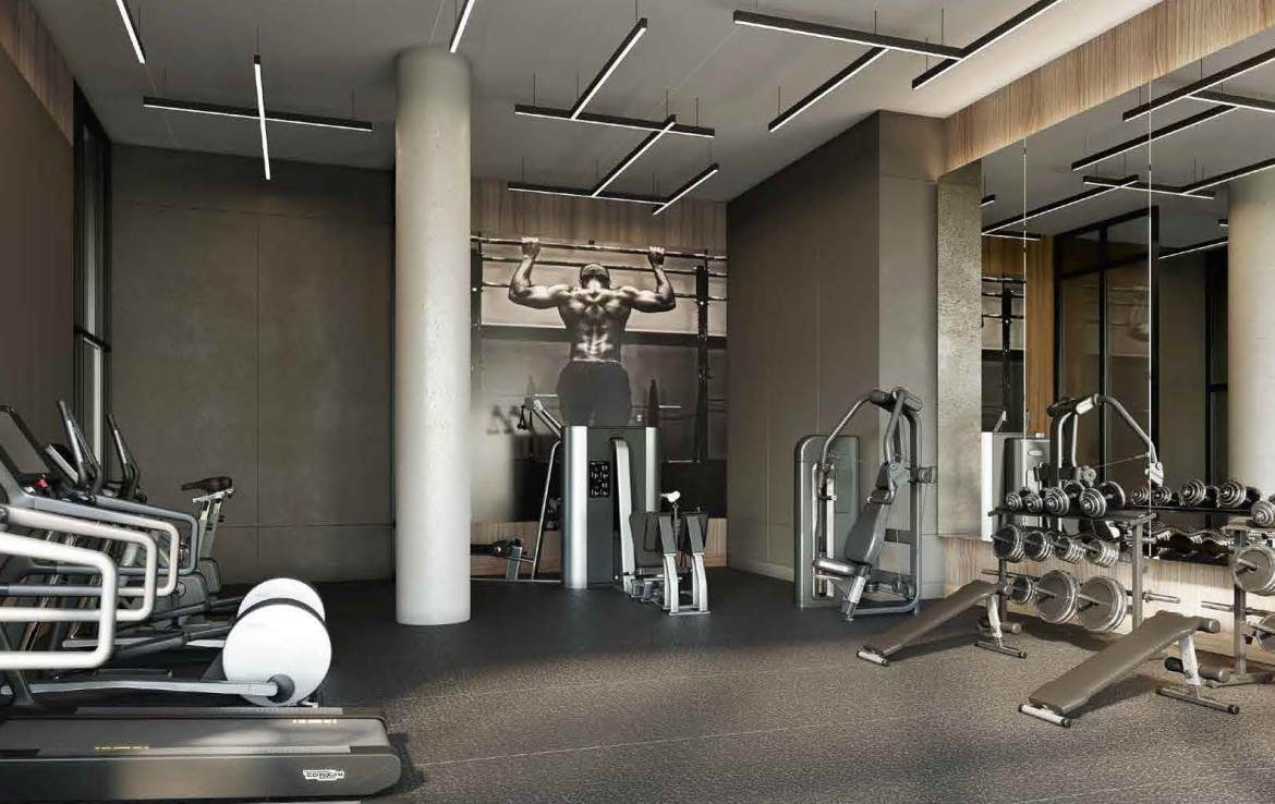 Rendering of Universal City 3 Condos fitness centre.