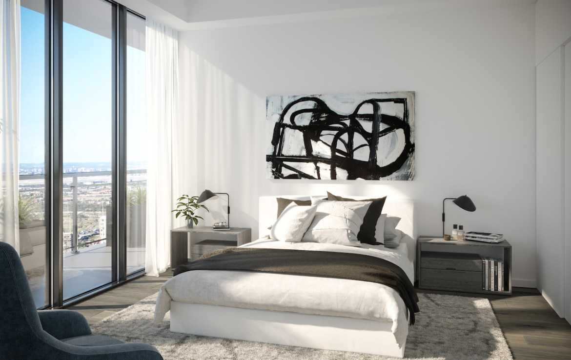 Rendering of EX2 Condos suite bedroom.