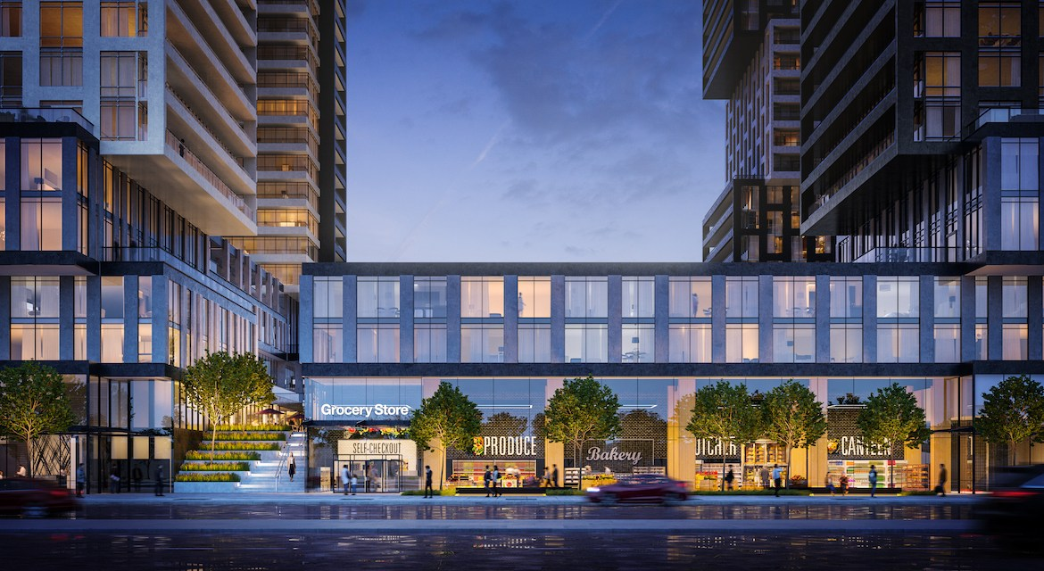 Rendering of EX2 Condos grocery podium.