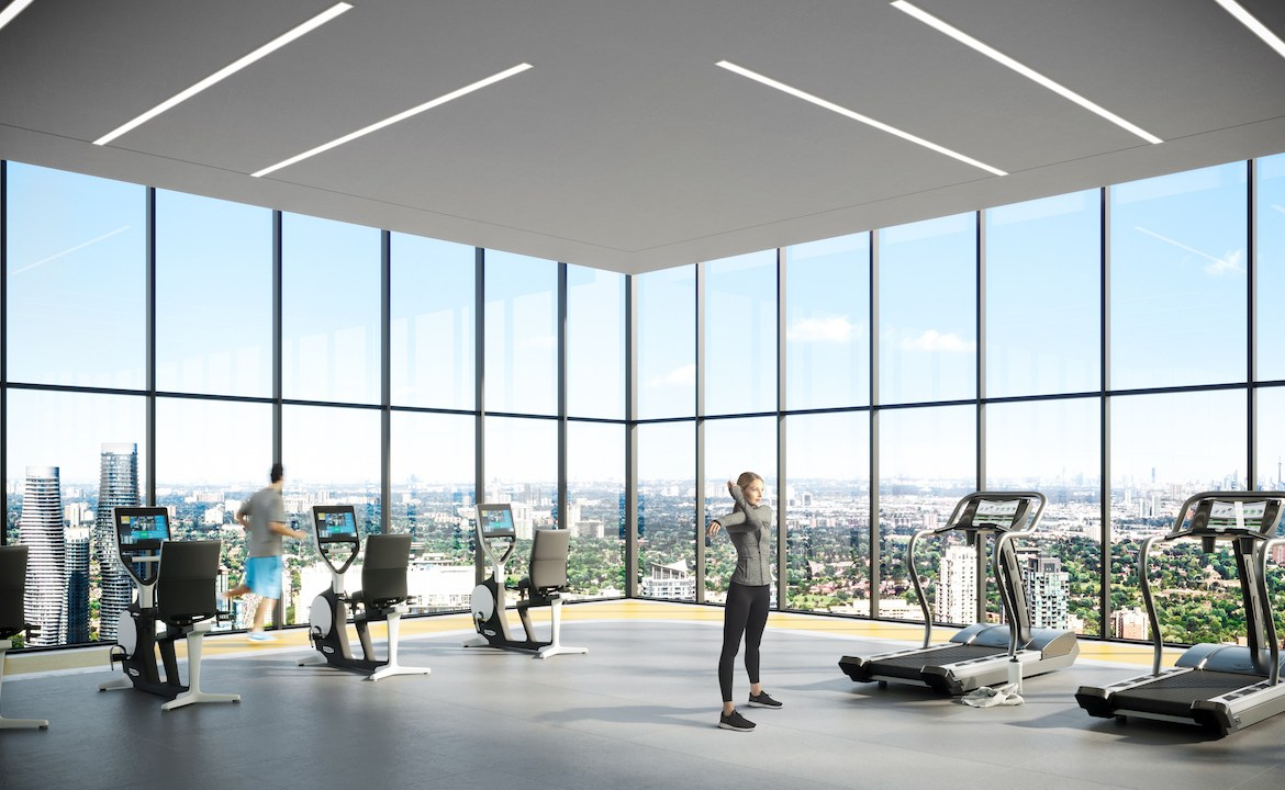 Rendering of EX2 Condos fitness centre.
