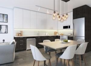 Rendering of 20Twenty Towns suite interior open-concept kitchen.