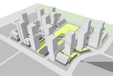 Rendering of 1900 Eglinton East community of condos and towns.