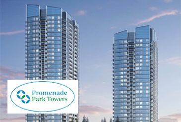 Exterior rendering of Promenade Park Towers with logo overlay.
