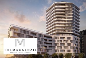 Exterior rendering of The Mackenzie Condos with logo overlay.