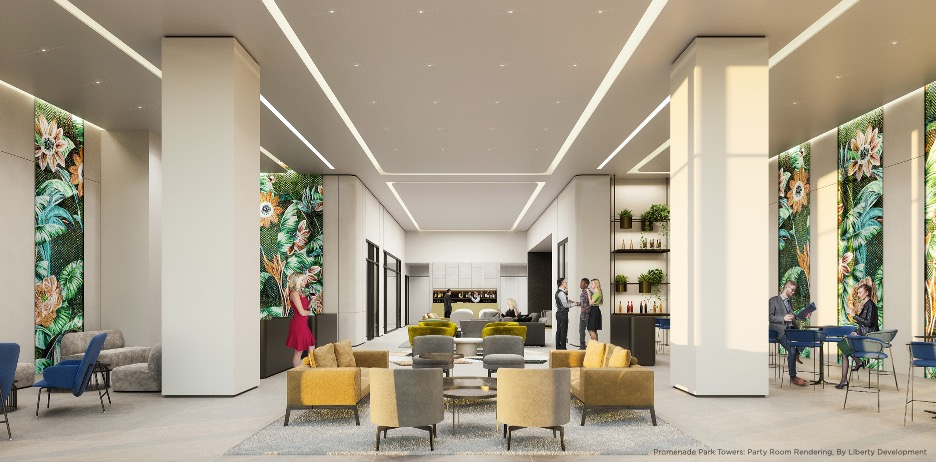 Rendering of Promenade Park Towers party room with lounge.